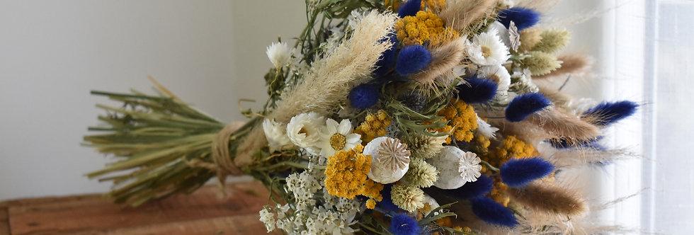 ~Blue-Yellow~ Gros bouquet rond de fleurs séchées Jaune, Bleu et Blanc