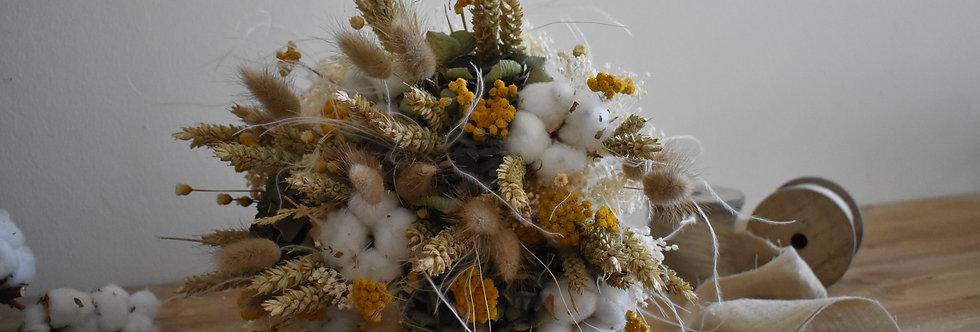 ~Entre 2 Saisons~ Bouquet rond de fleurs séchées jaune,  vert et Blanc