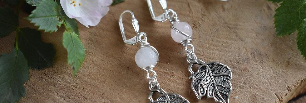 ~Leaf~ Petite Boucles d'oreilles Argenté et perles quartz rose