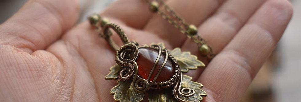 ~Athélas~ Pendentif Feuille Bronze et wire  Bronze en Agate Rouge