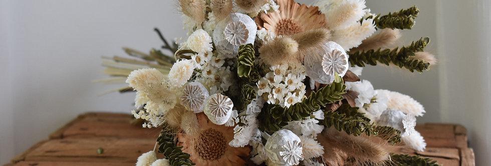 ~Little Orphée~ Bouquet rond de fleurs séchées, créme vert et nature