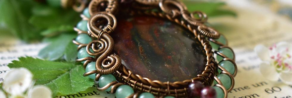 ~Renaissance ~ Collier wire bronze En Jaspe Sanguin et perles d'Aventurine