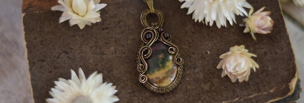 ~Hédysarum~ Collier wire bronze en Héliotrope  et perles de grenat