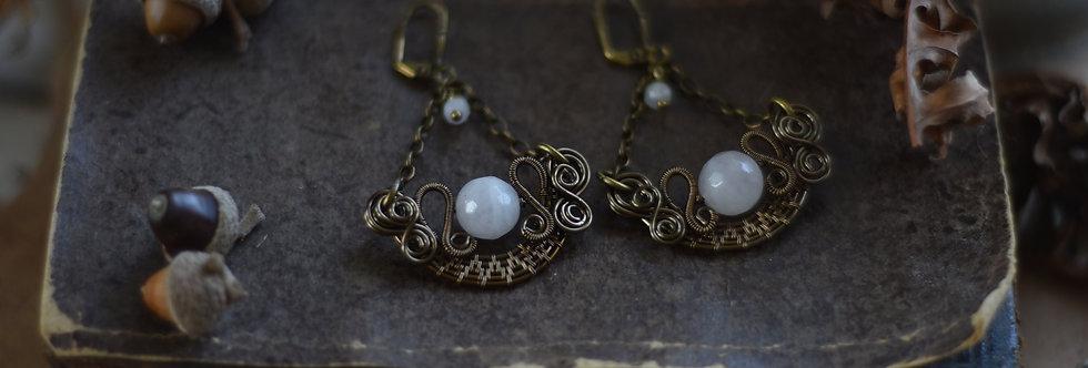 ~Stellaria~ Boucles d'oreilles Wire Bronze perles facettées de Quartz Rose