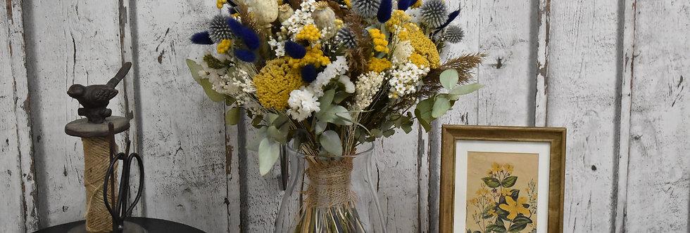 ~Millepertuis~ Gros bouquet rond de fleurs séchées Jaune, Bleu et Blanche
