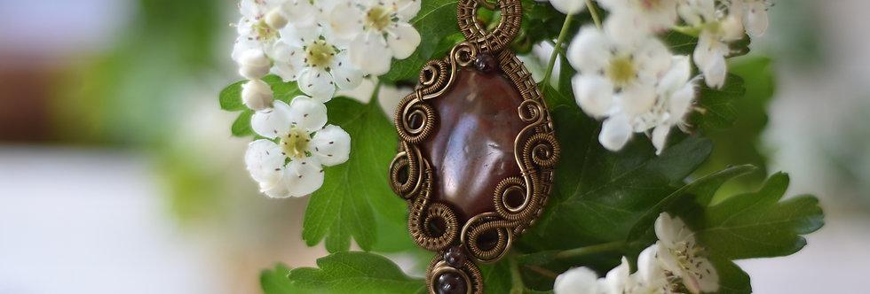 ~Lathyrus~ Collier wire bronze en Jaspe Sanguin et Perles de Grenat