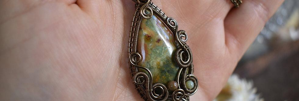~Narcissus~ Collier wire bronze en Jaspe Rainforest  et perles d'Agate