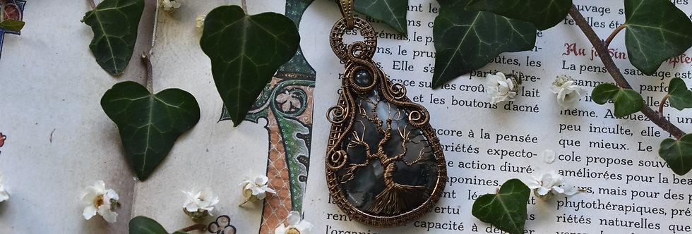 ~Peuplier ~ Collier wire bronze Arbre de vie en Agate Mousse