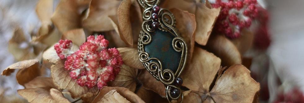 ~Eglantine~ Collier wire bronze en Jaspe Sanguin et perles de grenat