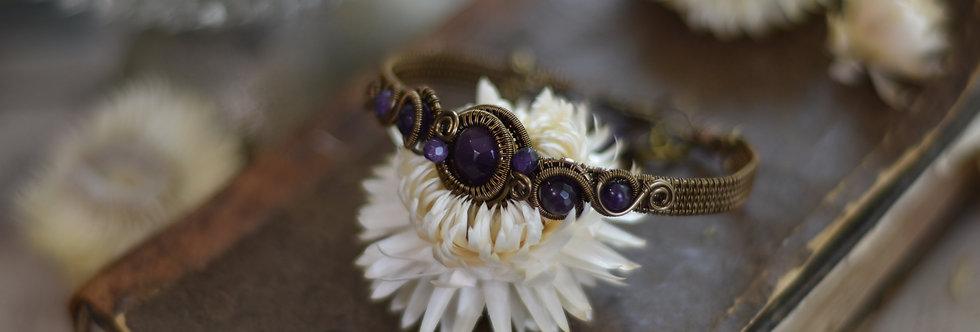 ~Grand Odyssée~ Bracelet bronze wire et perles facettées d'améthyste