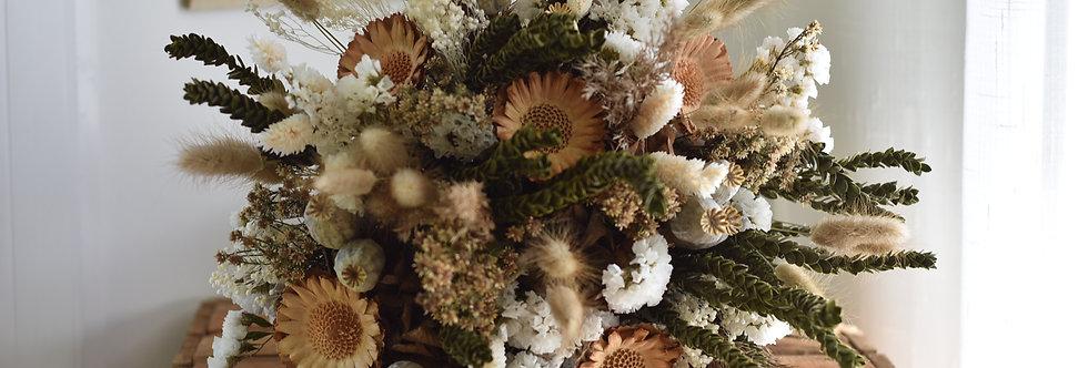 ~Orphée~ Gros  Bouquet rond de fleurs séchées, créme vert et nature