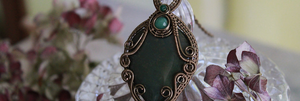 ~Alliaria~ Collier wire bronze en Bloodstone goutte inversée