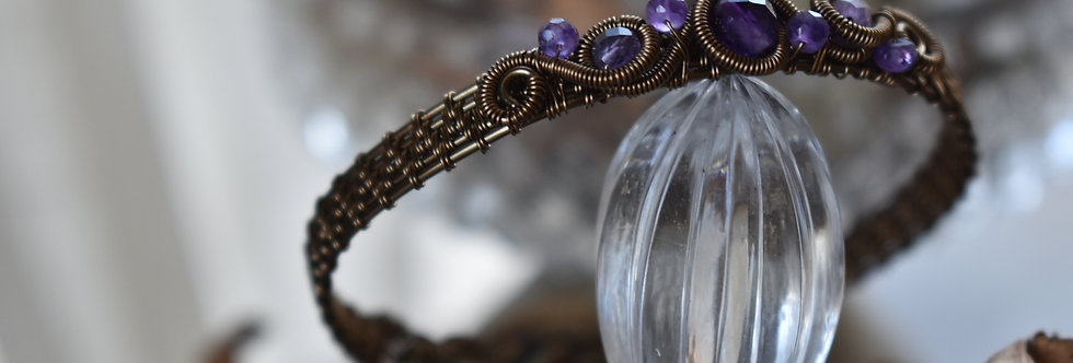 ~Odyssée~ Bracelet bronze wire et perles d'Améthyste Facettées