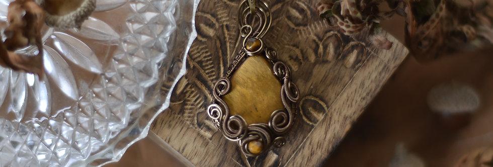 ~Reflets d'or ~ Collier wire   bronze en Oeil de tigre