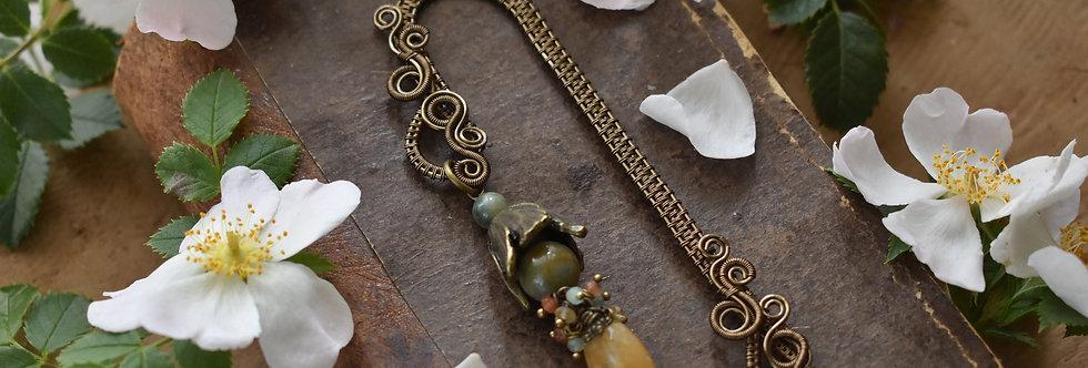 ~Mirdan ~ Marque-pages wire Bronze Fleurs et perle couleur pêche