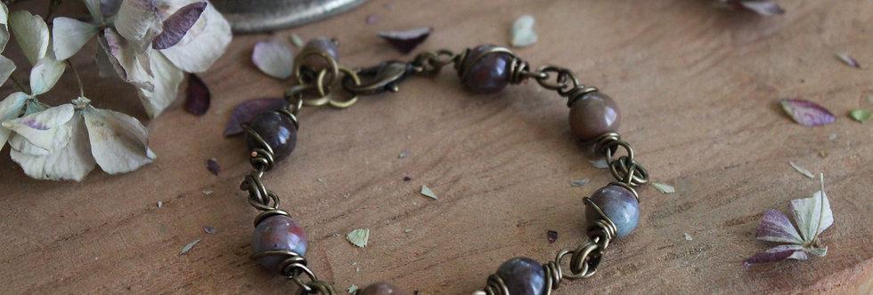 ~Simplicité~ Bracelet bronze wire et perles d'Agate indienne