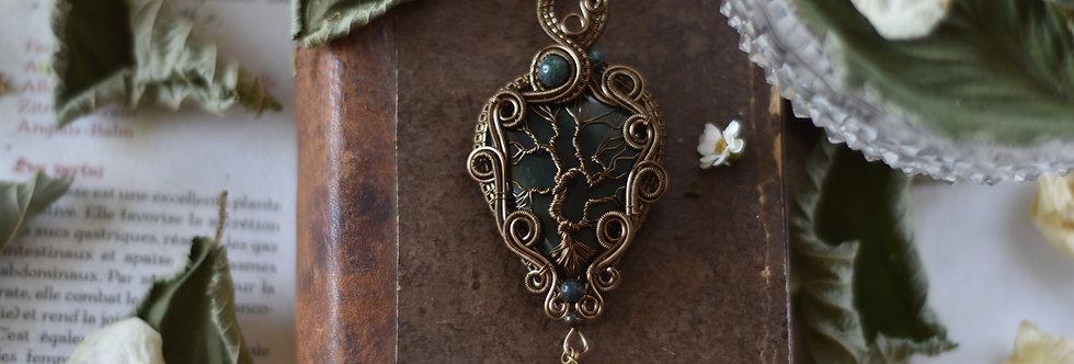 ~Coeur de la Forêt ~ Collier wire bronze Arbre de vie en Héliotrope