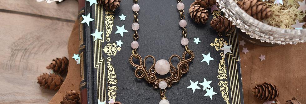 ~Fleurs d'Iris~ Collier wire bronze et perle de Quartz rose facettées