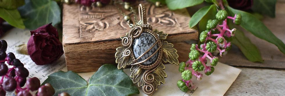 ~Athélas~ Pendentif Feuille Bronze et wire  Bronze et Obsidienne moucheté
