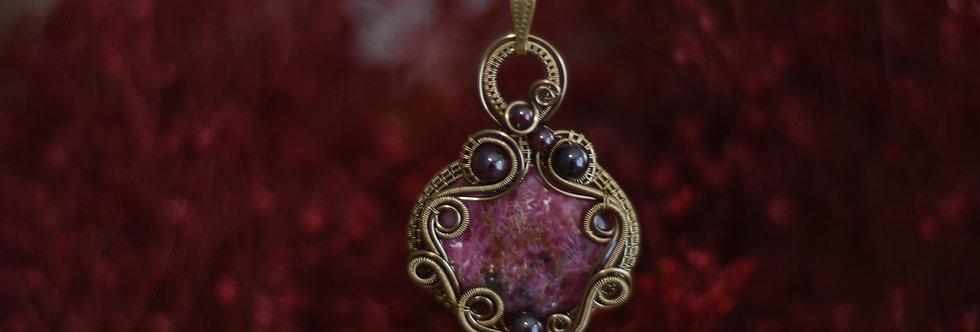 ~Romantica~ Collier wire bronze en Rhodonite et perles de Grenat
