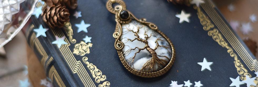 ~Forêt enneigée~ Collier wire bronze Arbre de vie en Opale Dentritique