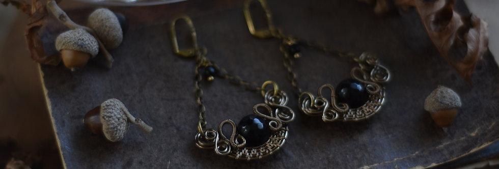 ~Stellaria~ Boucles d'oreilles Wire Bronze perles facettées D'onyx