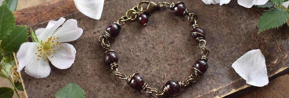 ~Simplicité~ Bracelet bronze wire et perles de Grenat