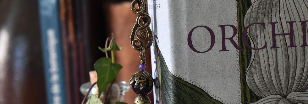 ~Mirdan ~ Marque-pages wire Bronze et Pendentif Perles d'Améthyste