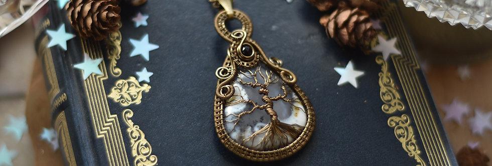 ~Médaillon des forêts ~ Collier wire bronze Arbre de vie en Opale Dentritique