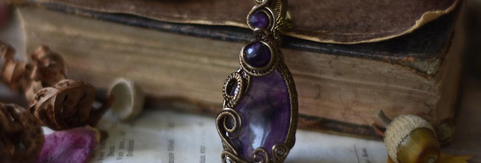 ~Galéga ~ Collier wire bronze en Améthyste
