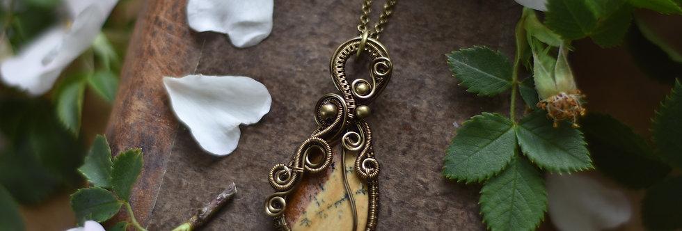 ~Liondent D'Automne~ Collier wire bronze en Jaspe Paysage