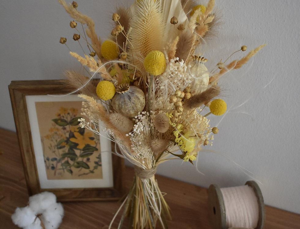 ~Mignonnerie ~ Petit Bouquet haut de fleurs séchées aux couleurs Jaune et Blanc