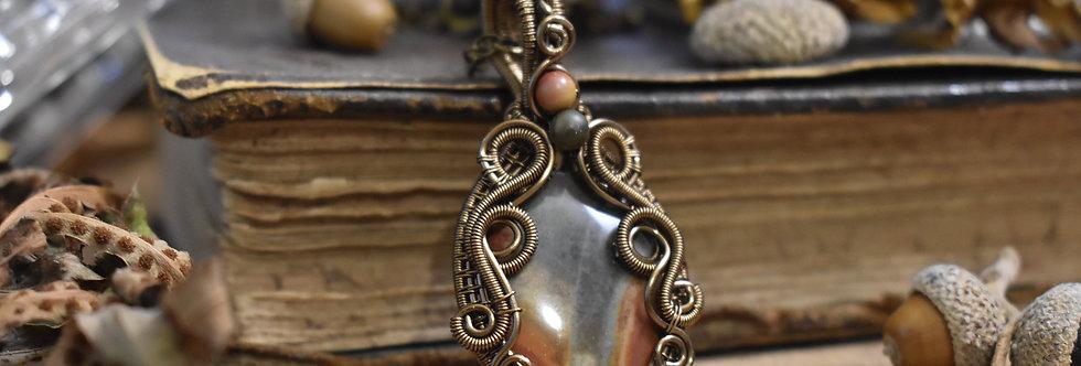 ~Anagallis~ Collier wire bronze en Jaspe Polychrome  + Petit pendenti