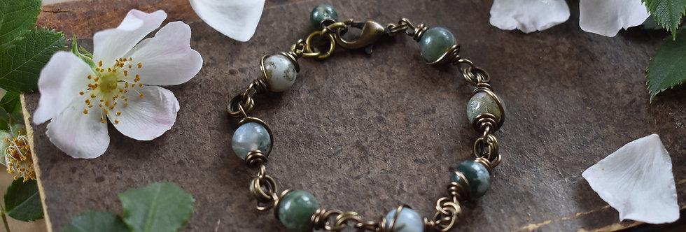 Réservé ~Simplicité~ Bracelet bronze wire et perles d'Agate mousse