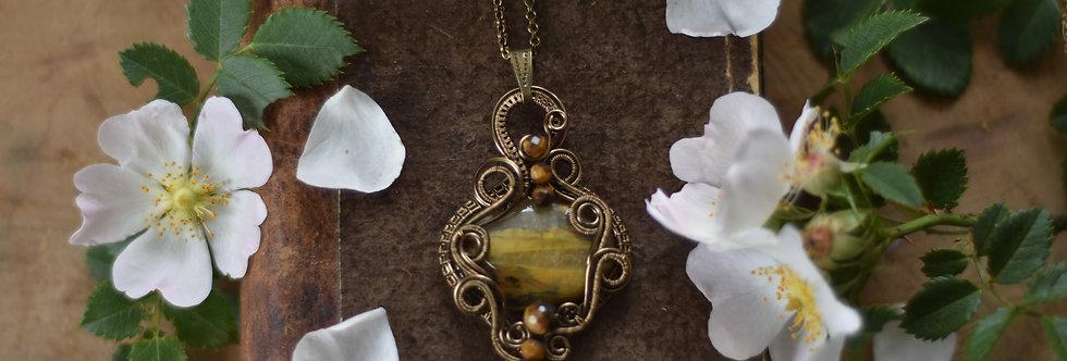 ~Ansérine~ Collier wire bronze en Nellite et perles d'oeil de tigre