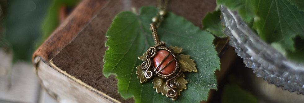 ~Athélas~ Pendentif Feuille Bronze et wire  Bronze en Jaspe Rouge