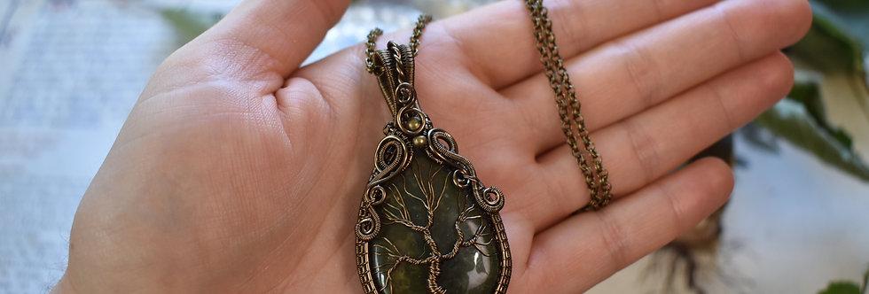 ~Tilia~ Collier wire bronze Arbre de vie en Jaspe