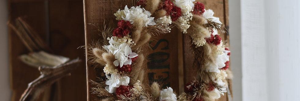 ~Adonis~ Couronne de Fleurs séchée Nature, rouge et créme