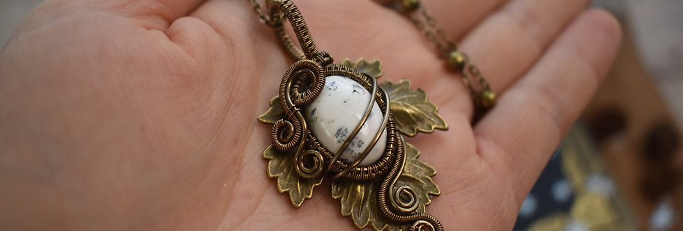 ~Athélas~ Pendentif Feuille Bronze et wire Bronze en Agate Dentritique