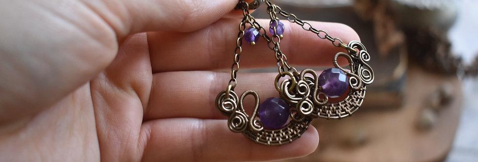 ~Stellaria~ Boucles d'oreilles Wire Bronze perles d'Améthyste