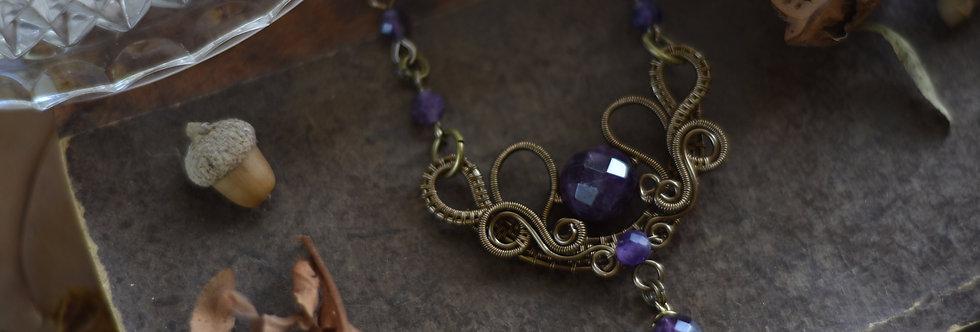 ~Fleurs d'Iris~ Collier wire bronze et perles d'Améthyste Facettées