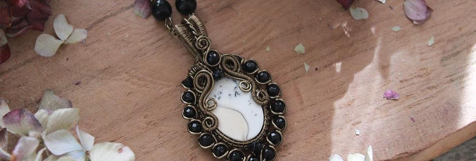 ~Mini-Renaissance~ Collier wire bronze en Agate Dentritique et Perles d'Onyx