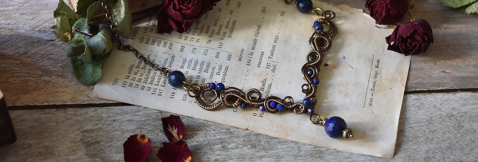 ~Odyssée ~ Collier wire bronze et perles de lapis Lazuli