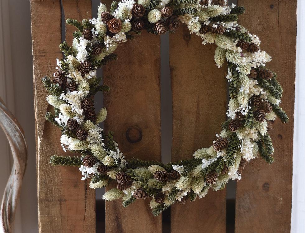 ~Forêt~ Couronne de Fleurs séchées Blanche, Crème et Marron