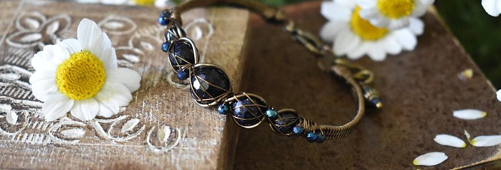 ~Entrelat Wire~ Bracelet bronze en Blue stand Stone