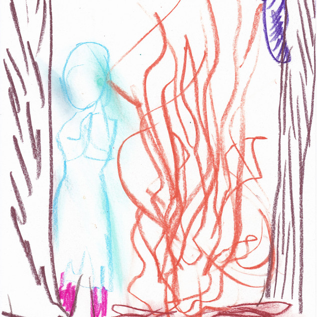 雪娘とたき火