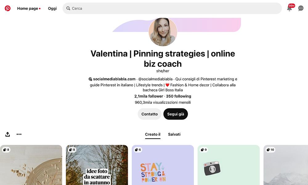 account Pinterest aziendale
