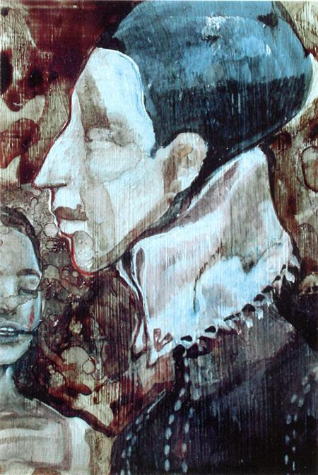 Blood paint - ritratto di un amico sangue e tempera su tavola