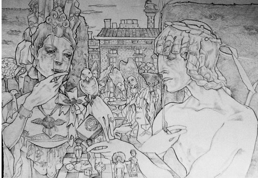 disegno inglese la dama e' l'inghilterra padrona del mondo, il ragazzo gli alleati , giocano con i 5