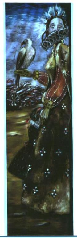 dama in guerra - dama e bambina piangente con avvoltoio, sullo sfondo soldati morti olio su tavola